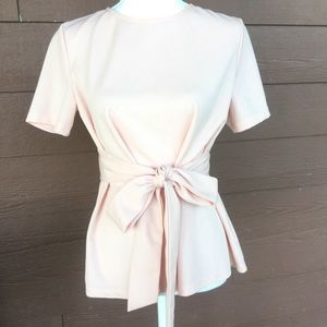 Blush pink Shein blouse tie at waist size medium